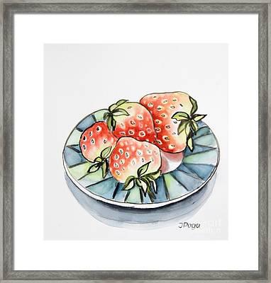 Strawberries On Plate Framed Print