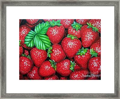 Strawberries Painting Oil On Canvas Framed Print by Drinka Mercep
