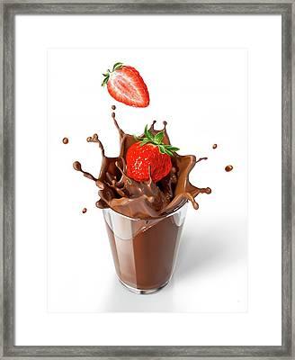 Strawberries Splashing Into Drink Framed Print by Leonello Calvetti