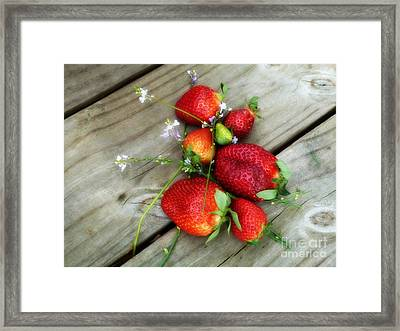 Framed Print featuring the digital art Strawberrries by Valerie Reeves