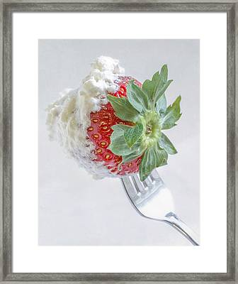 Strawberry And Whipped Cream Framed Print