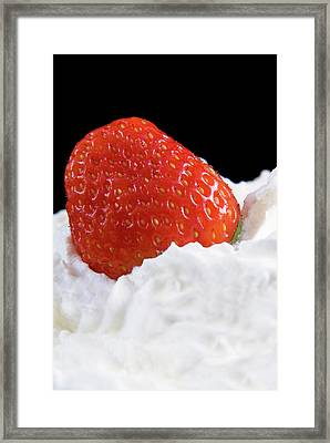 Strawberry And Whipped Cream Framed Print by Nico Tondini