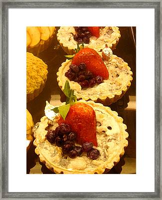 Strawberry Blueberry Tarts Framed Print by Amy Vangsgard