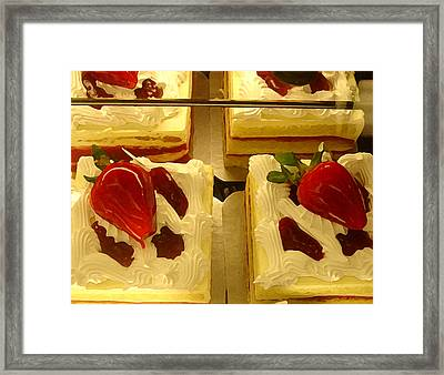 Strawberry Cakes Framed Print by Amy Vangsgard
