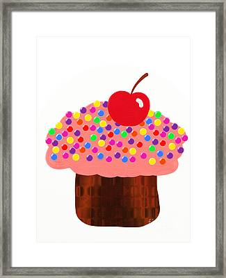 Strawberry Cupcake Framed Print by Andee Design