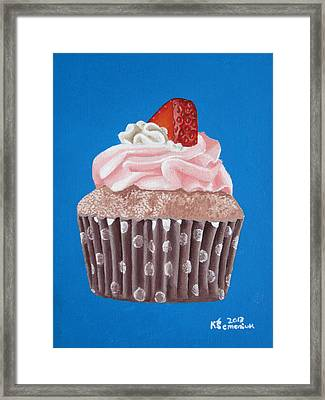 Strawberry Cupcake Framed Print by Kayleigh Semeniuk