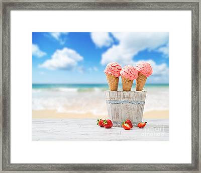 Strawberry Ice Creams Framed Print