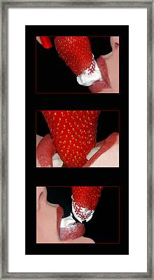 Strawberry Lips Framed Print by Joann Vitali