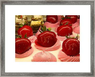 Strawberry Mousse Framed Print by Amy Vangsgard