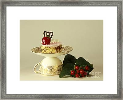 Strawberry Mousse Dessert For One Framed Print by Inspired Nature Photography Fine Art Photography