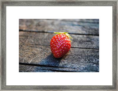 Framed Print featuring the photograph Strawberry On Plank by Robert  Moss