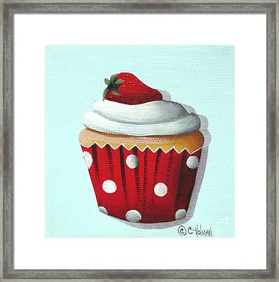 Strawberry Shortcake Cupcake Framed Print by Catherine Holman