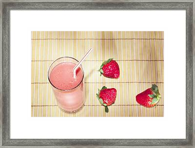 Strawberry Smoothie Framed Print by Alexey Stiop