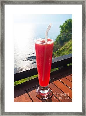 Strawberry Smoothie Soda Framed Print by Atiketta Sangasaeng