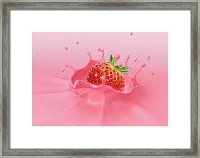 Strawberry Splashing Into Milkshake Framed Print by Leonello Calvetti