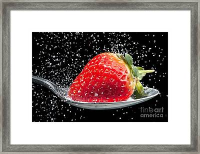 Strawberry Sprinkled With Sugar Close Up Framed Print