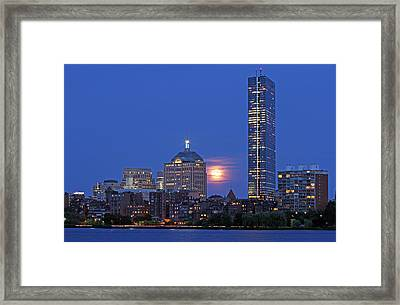 Strawberry Supermoon Over Boston Skyline Framed Print