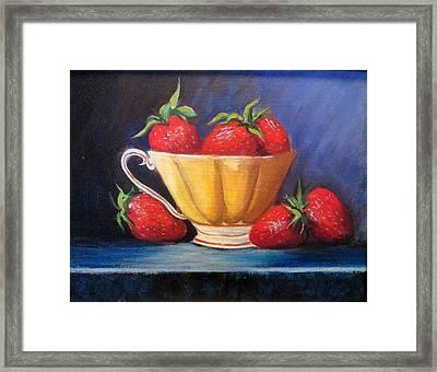 Strawberry Teacup Framed Print