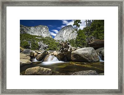 Stream Above Vernal Falls Framed Print by Mike Lee