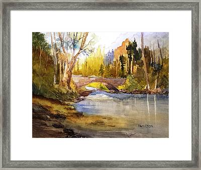 Stream And Bridge Framed Print by Larry Hamilton