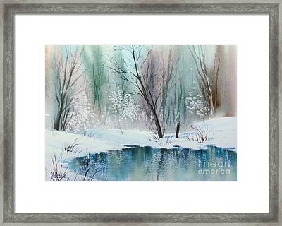 Stream Cove In Winter Framed Print by Teresa Ascone