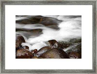 Stream Flowing  Framed Print by Les Cunliffe