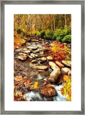 Stream Into Fall - Great Smokey Mountains Framed Print