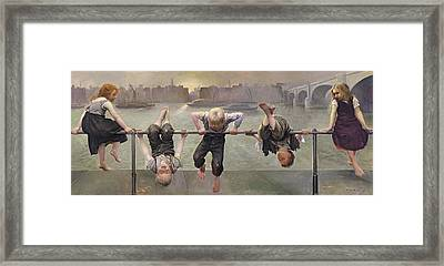 Street Arabs At Play Framed Print by Dorothy Stanley