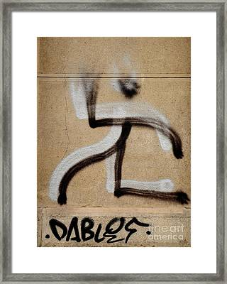 Framed Print featuring the photograph Street Art 'dablos' Graffiti In Bucharest Romania  by Imran Ahmed
