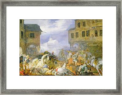 Street Battle In The Malostranske Framed Print by Roelandt Jacobsz. Savery