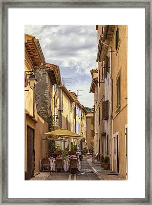 Street Cafe In Cassis Framed Print