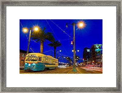 Street Car On The Embarcadero In San Francisco Framed Print by Mel Ashar