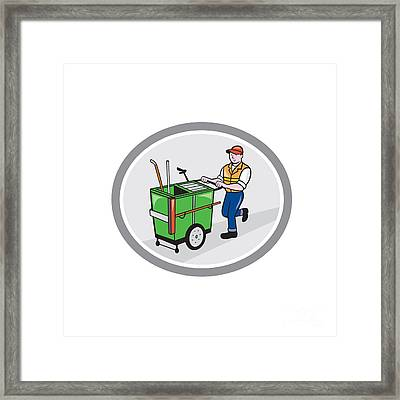 Street Cleaner Pushing Trolley Oval Cartoon Framed Print