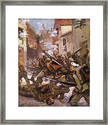 Street Fighting In A French  Village Framed Print by Mary Evans Picture Library