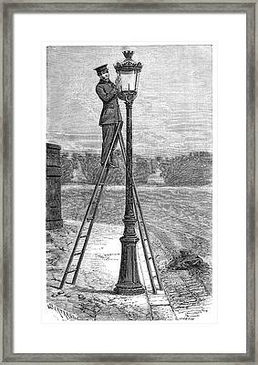 Street Gas Lighting Framed Print by Science Photo Library