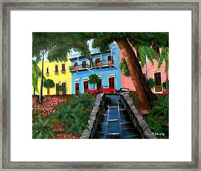 Street Hill In Old San Juan Framed Print