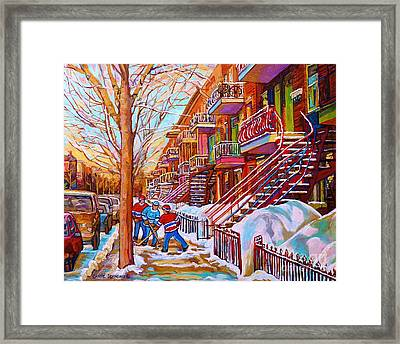 Street Hockey Game In Montreal Winter Scene With Winding Staircases Painting By Carole Spandau Framed Print by Carole Spandau