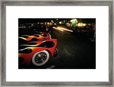 Street Hot Rods Flames Whitewall Tires Framed Print