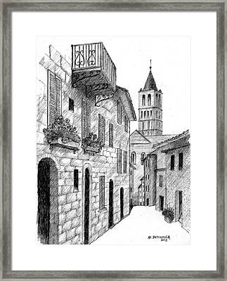 Street In Assisi Italy Framed Print