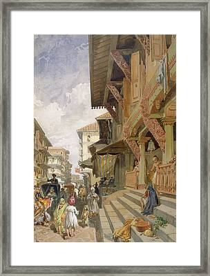 Street In Bombay, From India Ancient Framed Print by William 'Crimea' Simpson