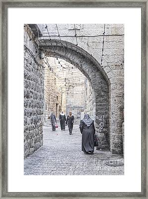 Street In Jerusalem Old Town Israel Framed Print