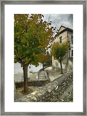 street in old Albaycin in Granada Framed Print