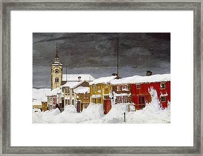 Street In Roros In Winter Framed Print by Harald Sohlberg