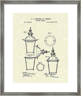 Street Lamp 1873 Patent Art Framed Print