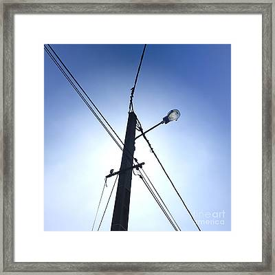 Street Lamp And Power Lines Framed Print