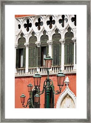 Street Lamp And Venetian Gothic Framed Print