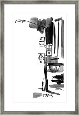 Street Lamp In City Has Three Signs On It:  No Framed Print by Donald Reilly
