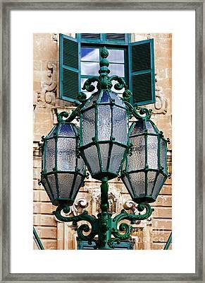 Street Lamp In Malta Framed Print by Tim Holt