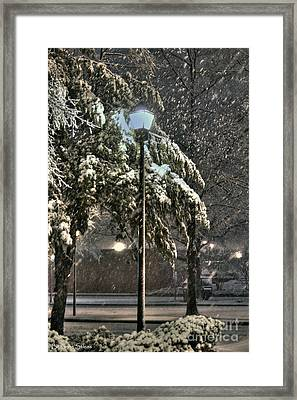 Street Lamp In The Snow Framed Print by Benanne Stiens