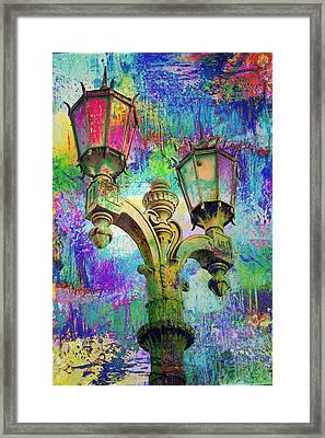 Street Lamp Rainbows Framed Print